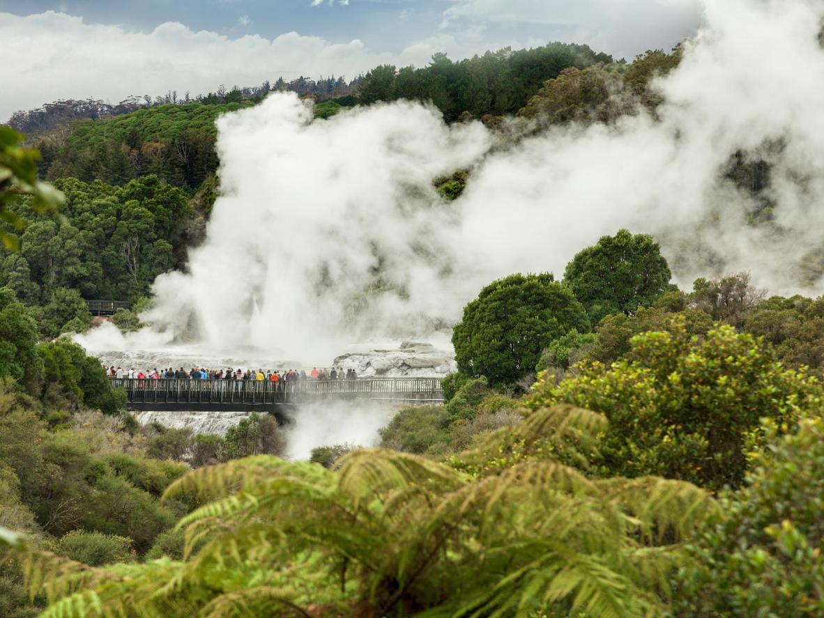 Whakarewarewa Valley, em Te Puia, Nova Zelândia
