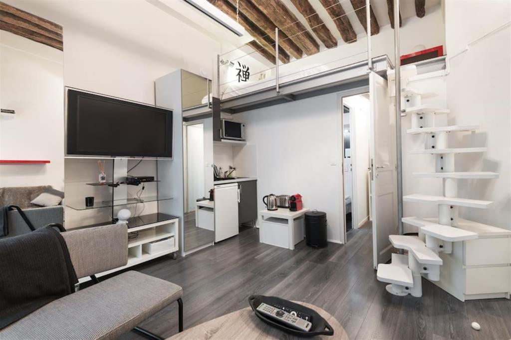 departamento modern studio le marais francia par s. Black Bedroom Furniture Sets. Home Design Ideas