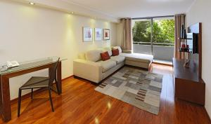 Uma área de estar em Time Suite