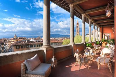 The loggia at the Hotel Palazzo Guadagni, Florence