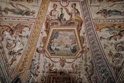 Frescoes in the Istituto Gould hotel/hostel in Florence