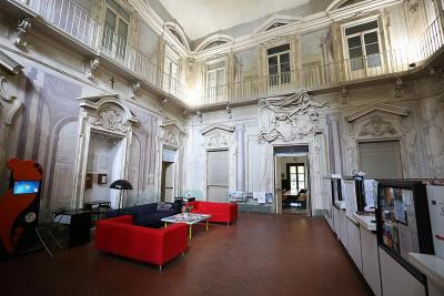 The lobby of the Ostello Villa Camerata hostel, Florence