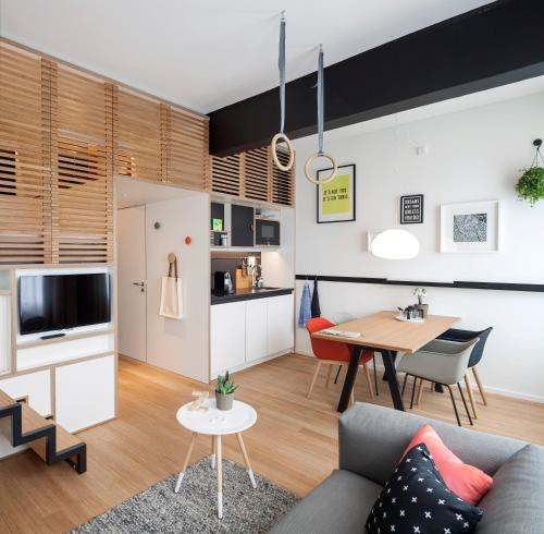 A cozinha ou cozinha compacta de Zoku Amsterdam