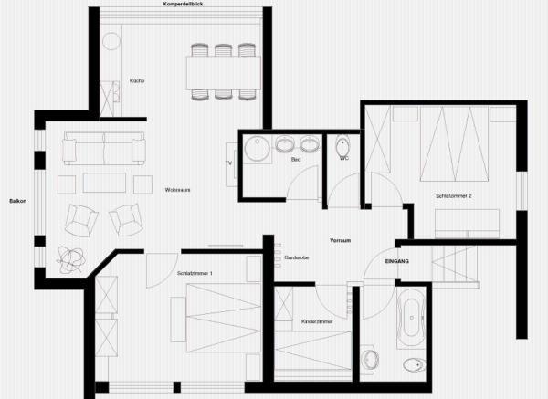 Three-Bedroom Apartment - Attic