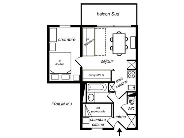 One-Bedroom Apartment with Cabin (6 Adults)
