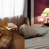 Double Room with Purple Color Decoration and window)108/208/308/408