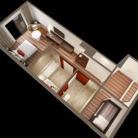 King Bed with Twin Bunk Bed and Balcony