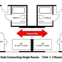 Style Two Connecting Single Rooms (2 Adults) - Non-Smoking