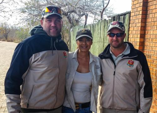 Zena (Nini) Baxter with SA cricketers Jacques Kallis and Mark Boucher